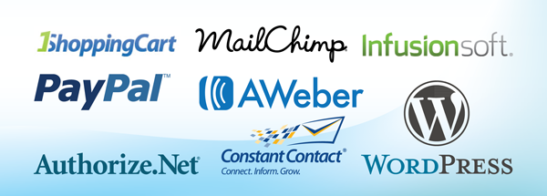 1 Shopping Cart, Aweber, Authorize.net, Blue Host, BuddyPress, Constant Contact, Campaigner, DirectoryPress, Godaddy, Google Apps, Hostgator, Infusionsoft, ISSUU, Instant Teleseminar, MailChimp, OptimizePress, Paypal, Time Trade, WishList Member, WordPress and more